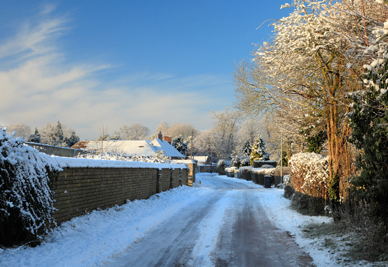 Stirtloe Lane in the snow